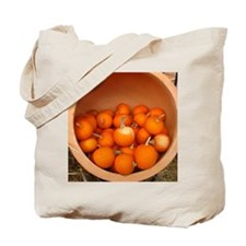 clay pot with small pumpkins inside Tote Bag
