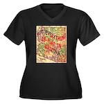 Flat Arizona Women's Plus Size V-Neck Dark T-Shirt