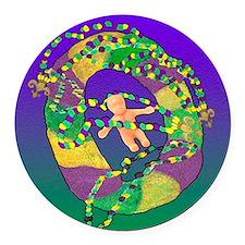 Mardi Gras king cake Round Car Magnet