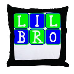 Lil Bro (Blue/Green Bright) Throw Pillow