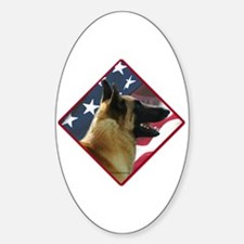 Malinois Flag 2 Oval Decal
