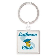 Lutheran Chick #3 Square Keychain