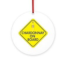 Chardonnay on Board Round Ornament