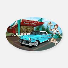 1957 Classic Car-Car Hop Pin-up Oval Car Magnet