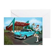 1957 Classic Car-Car Hop Pin-up Greeting Card