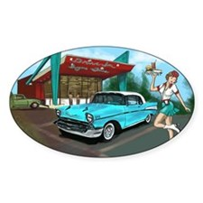 1957 Classic Car-Car Hop Pin-up Decal