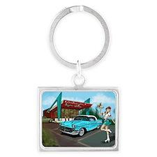 1957 Classic Car-Car Hop Pin-up Landscape Keychain