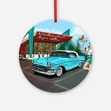 1957 Classic Car-Car Hop Pin-up Round Ornament
