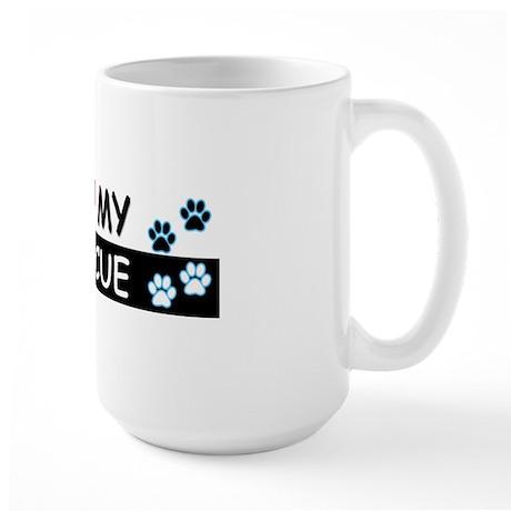 I [Love] MY RESCUE (Blue) Large Mug