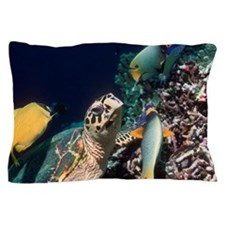 Hawksbill turtle feeding Pillow Case