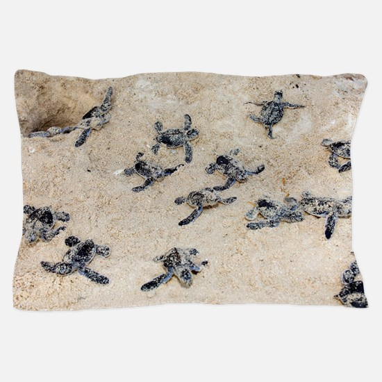 Green turtle hatchlings Pillow Case