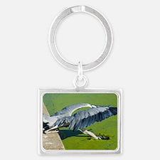 Grey heron Landscape Keychain