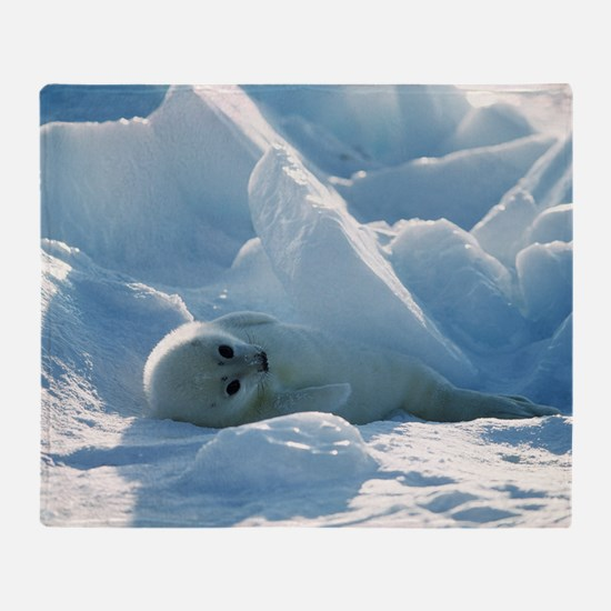 Harp seal pup Throw Blanket