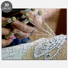 Lace production using bobbins Puzzle