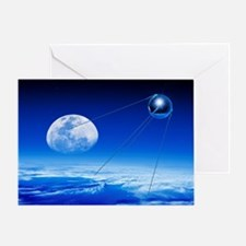 Sputnik 1 satellite, composite image Greeting Card