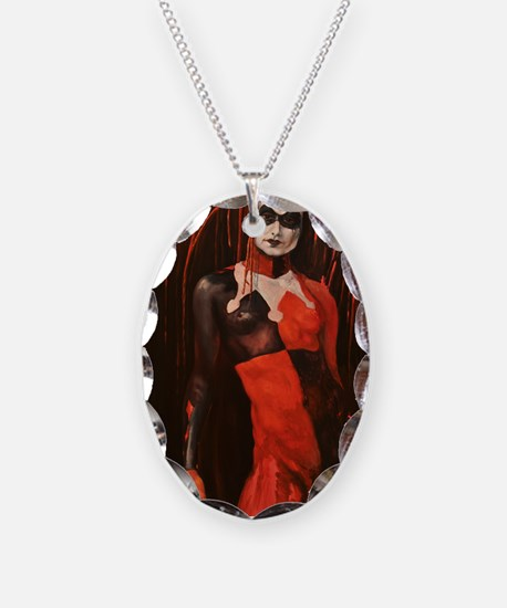 Winter Harlequin II Necklace Oval Charm