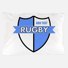 Rugby Shield White Lt Blue Pillow Case