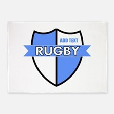 Rugby Shield White Lt Blue 5'x7'Area Rug