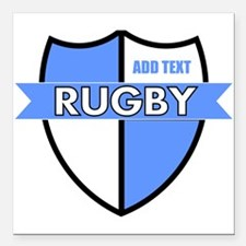 """Rugby Shield White Lt Blue Square Car Magnet 3"""" x"""