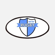 Rugby Shield White Lt Blue Patches