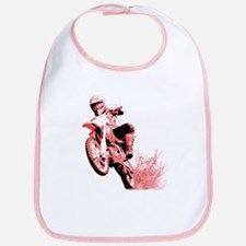 Red Dirtbike Wheeling in Mud Bib