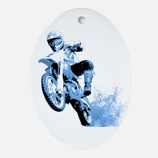 Blue Dirtbike Wheeling in Mud Ornament (Oval)