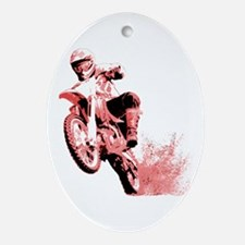 Red Dirtbike Wheeling in Mud Ornament (Oval)
