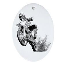 Dirtbike Wheeling in Mud Ornament (Oval)