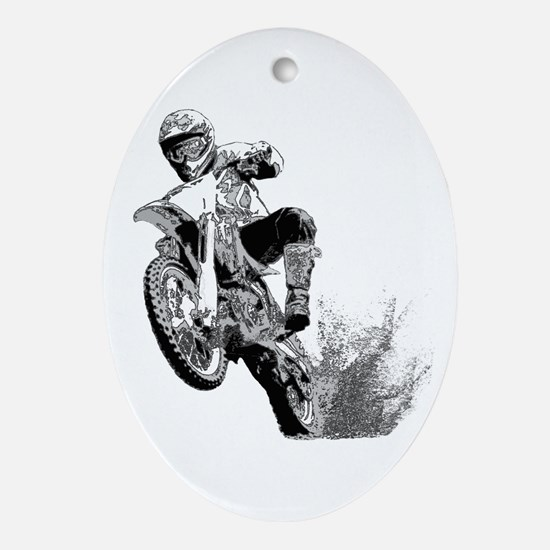 Dirtbike Wheeling in Mud Ornament (Oval)