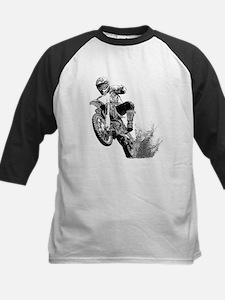 Dirtbike Wheeling in Mud Kids Baseball Jersey