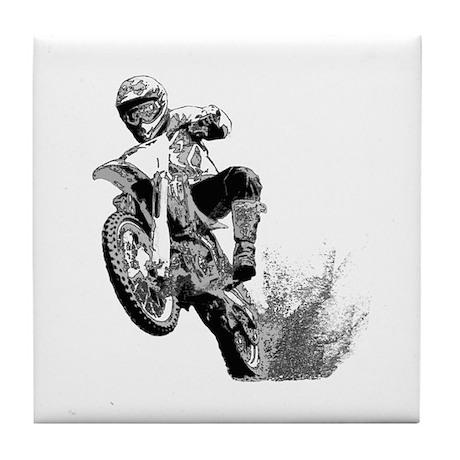 Dirtbike Wheeling in Mud Tile Coaster