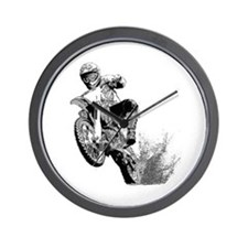 Dirtbike Wheeling in Mud Wall Clock