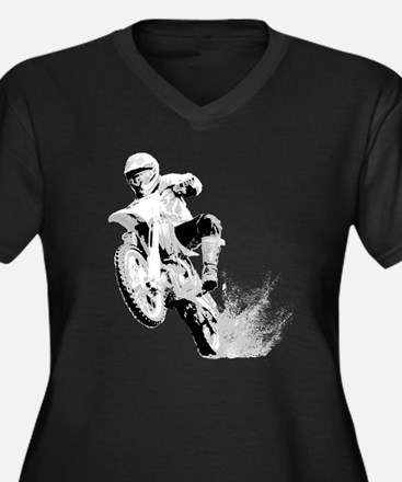 Dirtbike Wheeling in Mud Women's Plus Size V-Neck