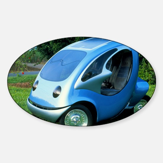 Electric car with solar panels Sticker (Oval)