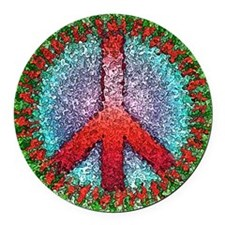 Abstract Peace Sign Round Car Magnet