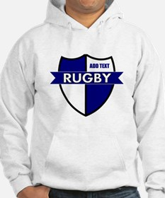 Rugby Shield White Blue Hoodie