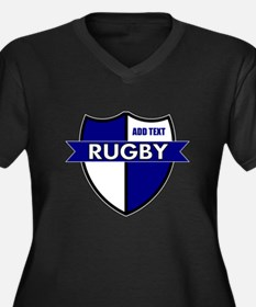 Rugby Shield White Blue Women's Plus Size V-Neck D