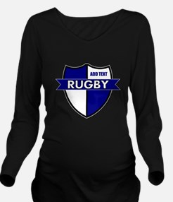 Rugby Shield White Blue Long Sleeve Maternity T-Sh