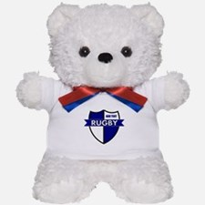 Rugby Shield White Blue Teddy Bear