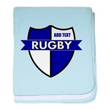 Rugby Shield White Blue baby blanket