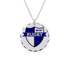 Rugby Shield White Blue Necklace
