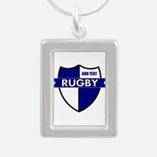 Rugby Shield White Blue Silver Portrait Necklace