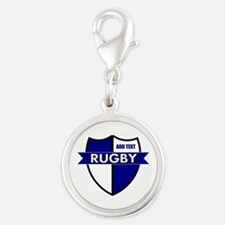 Rugby Shield White Blue Silver Round Charm