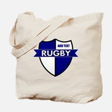 Rugby Shield White Blue Tote Bag