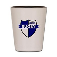 Rugby Shield White Blue Shot Glass