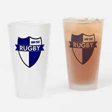 Rugby Shield White Blue Drinking Glass