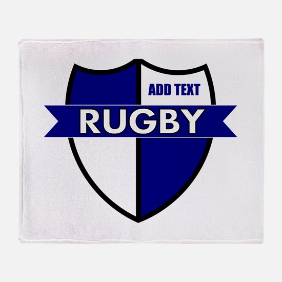 Rugby Shield White Blue Throw Blanket