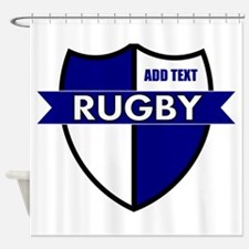 Rugby Shield White Blue Shower Curtain