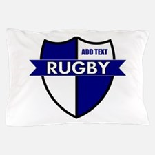 Rugby Shield White Blue Pillow Case