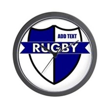 Rugby Shield White Blue Wall Clock